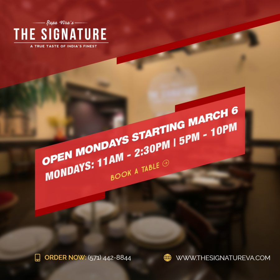 Rupa Vira's The Signature Open Mondays Starting March 6, 2017